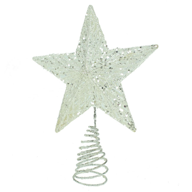 Gisela Graham Christmas Tree Topper: Gisela Graham Large White Star Christmas Tree Topper
