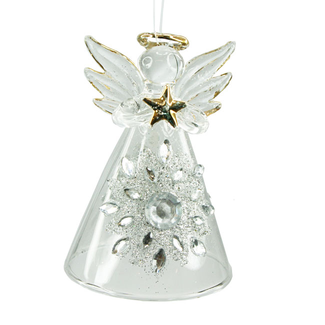 Glass Angel with Silver Star Tree Decoration