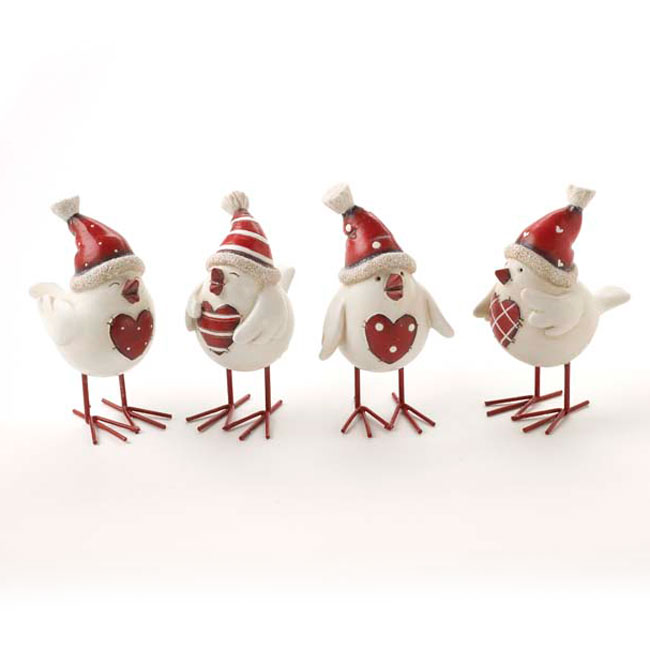 Red & White Shabby Chic Christmas Decorations - Set of 4 Birds