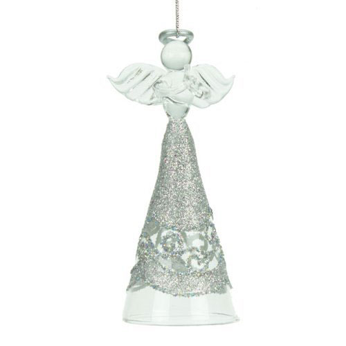 Glass Glitter Skirt Angel Christmas Tree Decoration