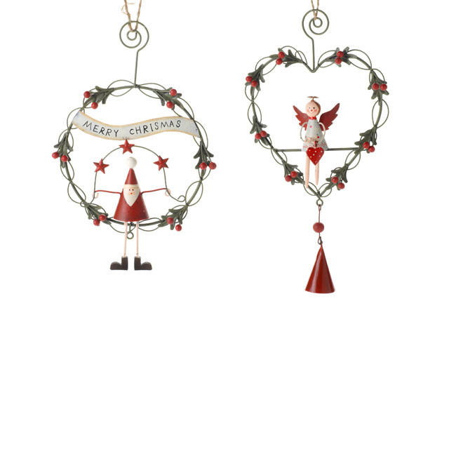 Pair-of-Wire-Wreath-Santa-amp-Angel-Christmas-Tree-Decorations-18cm