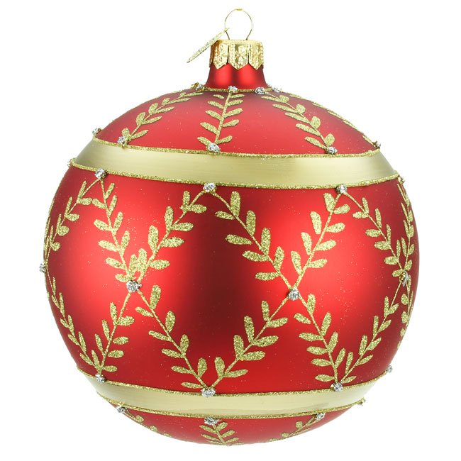 Luxury Hand Painted Christmas Decoration - Red & Gold Large Bauble (12cm)
