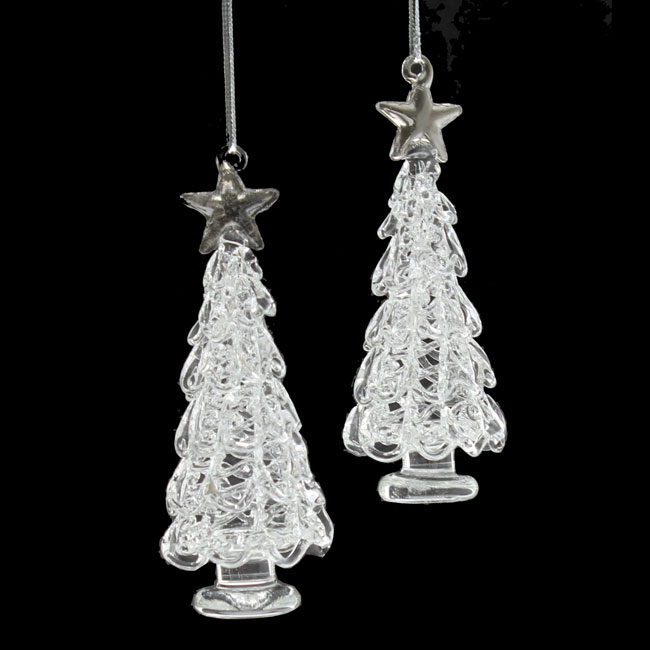 Set of 2 Glass Christmas Tree Decorations (9cm)