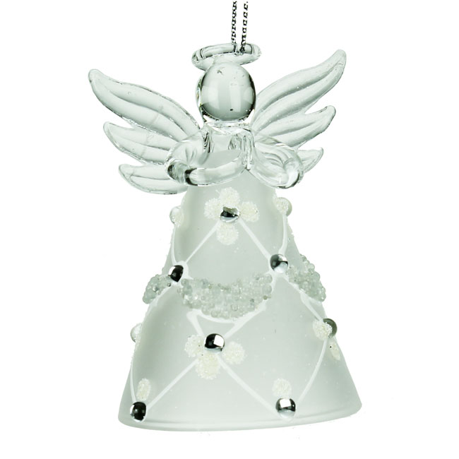 Glass Angel Christmas Decoration with Flower & Trellis Skirt (8cm)