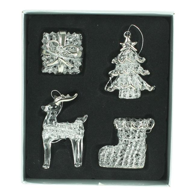 Set of 4 Glass Christmas Tree Decorations (3-5cm)