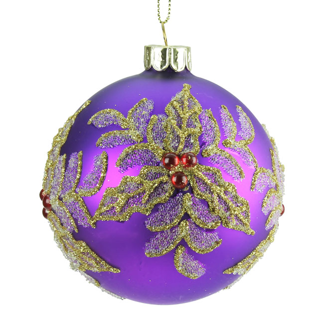Purple Christmas Tree Baubles Uk : Purple glass christmas tree bauble with jewelled holly