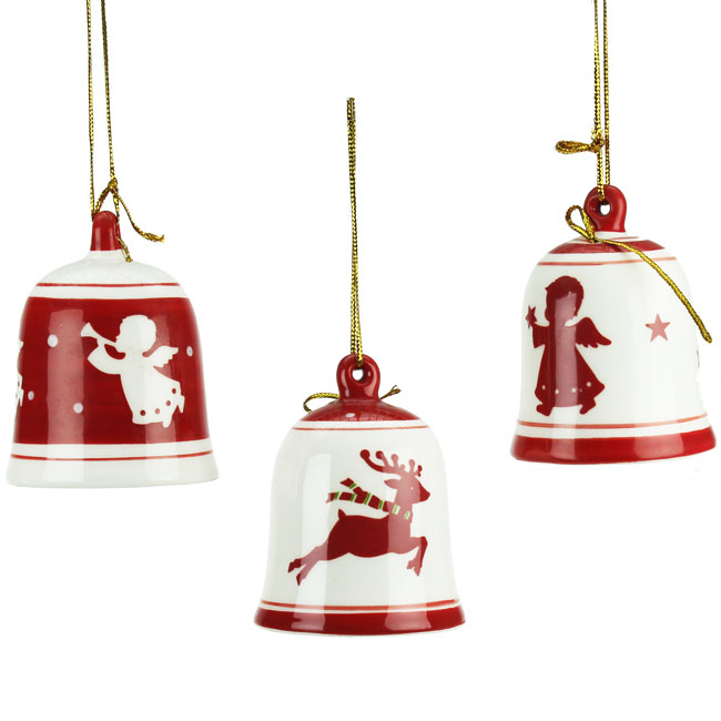 Set of 3 Red & White Nordic Ceramic Bell Christmas Decorations (6cm)