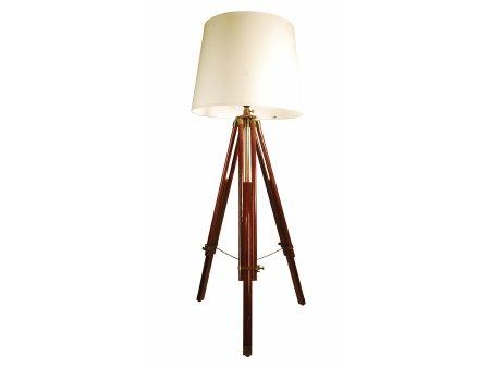 Ledbury brown wooden tripod floor lamp cream shade for Floor lamp wooden legs