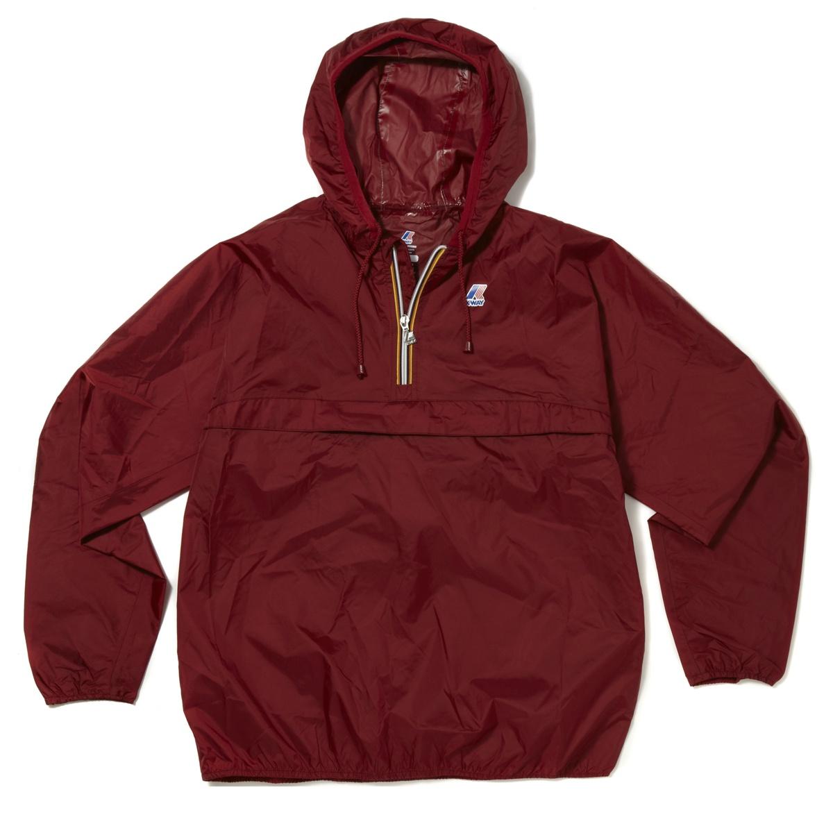 K-WAY Unisex Leon Classic Half Zip Waterproof Hooded Sweatshirt Mac Jacket