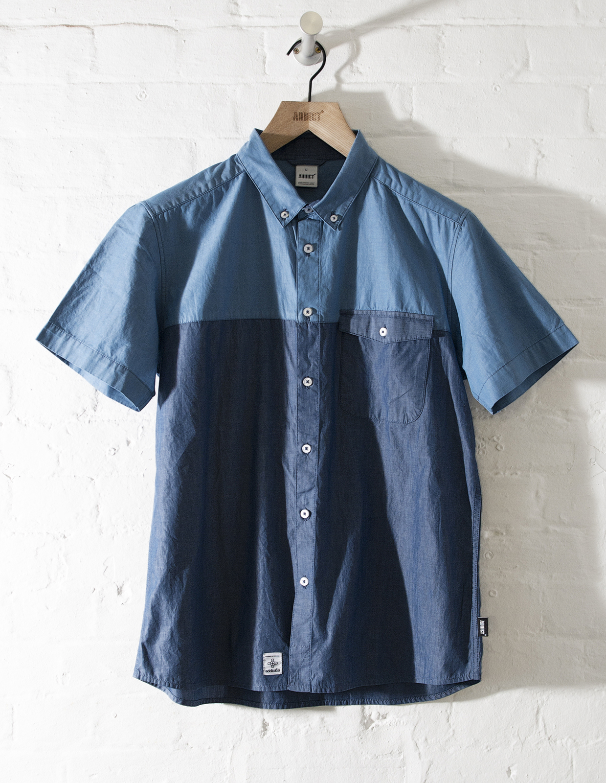 Addict mens 2 tone chambray button down casual 100 for Mens 100 cotton button down shirts