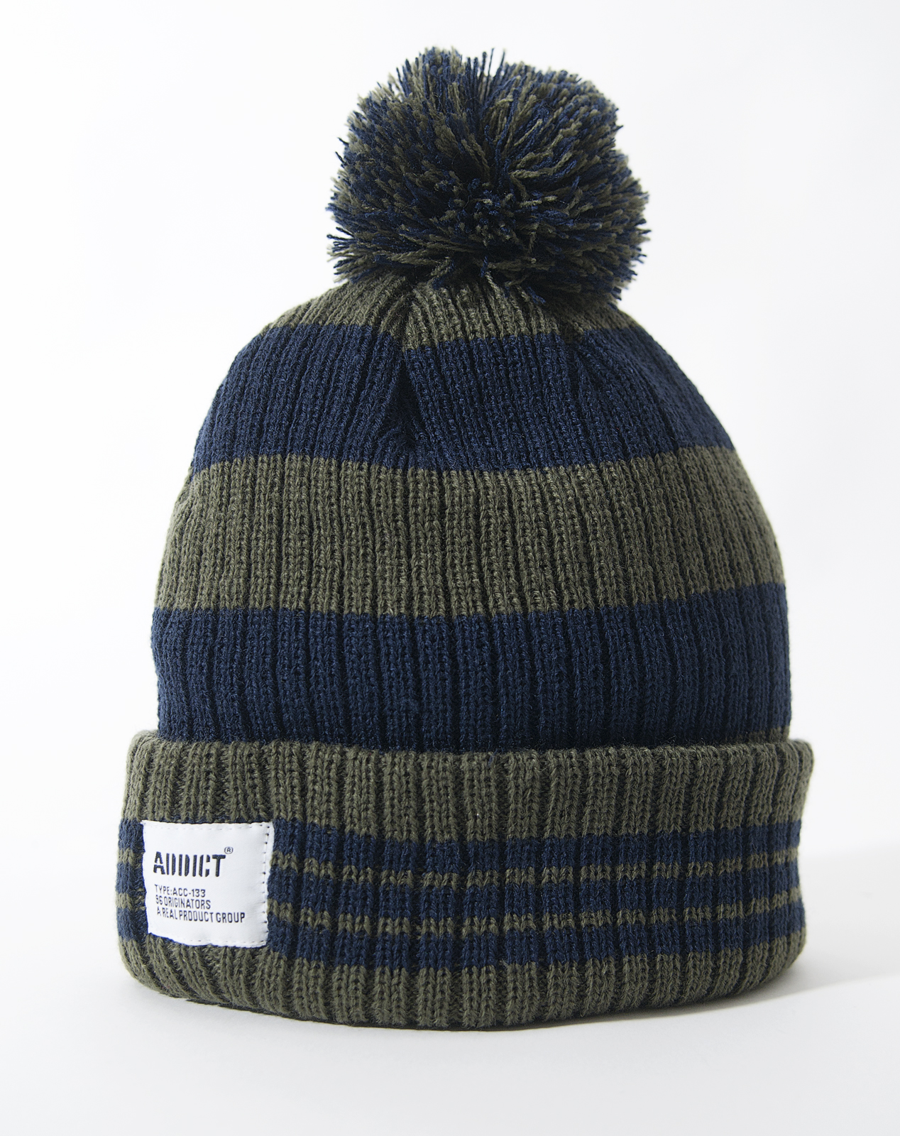 Addict Mens Winter Ski Hat Beanie Bobble Stripe Various ...