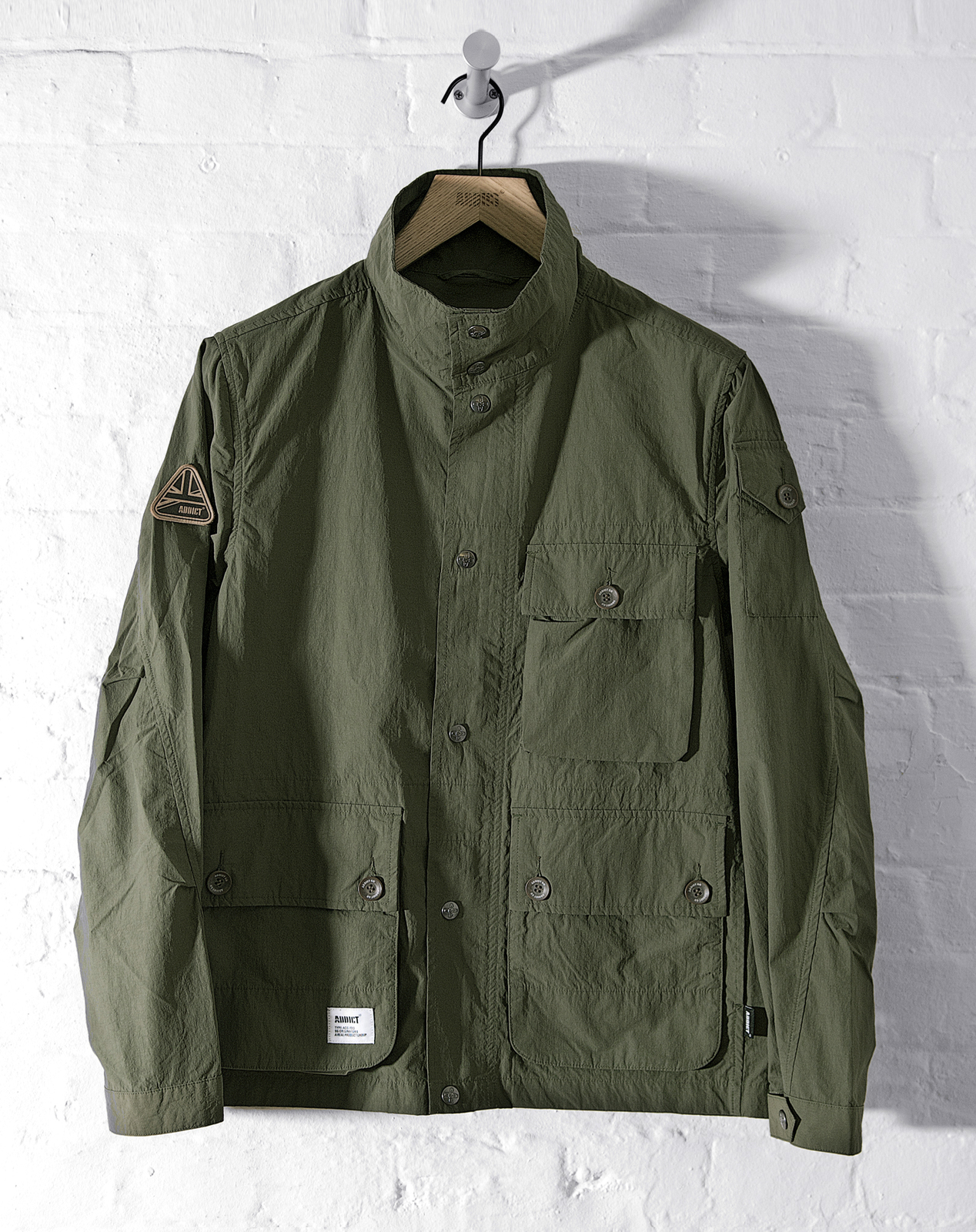 Mens jacket cotton - Image Is Loading Addict Mens Field Buttoned Jacket Funnel Neck Cotton