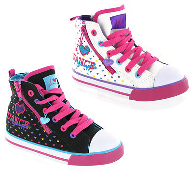 New Small Girls Pineapple Baseball Hi-Top Style Pumps Canvas Shoes Size 6-12 UK