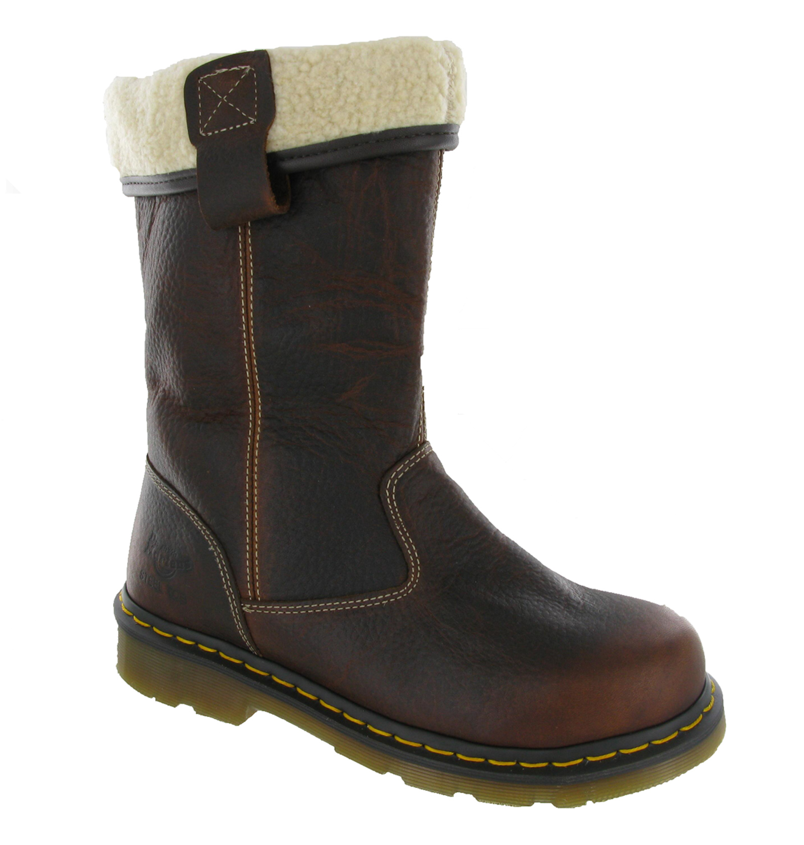 Dr Martens Rosa Safety Steel Toe Cap Fur Lined Womens Rigger Boots ...