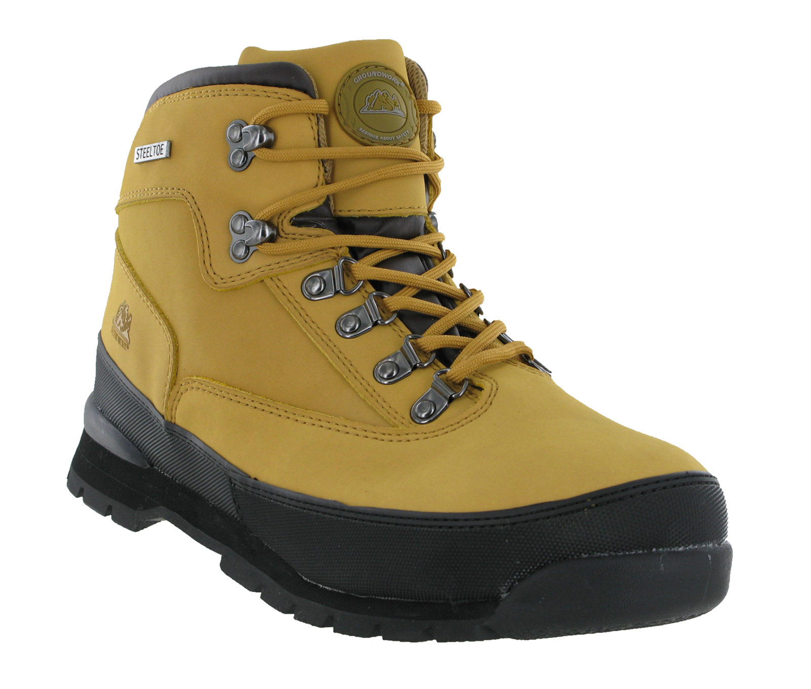 groundwork leather steel toe cap safety mens work ankle