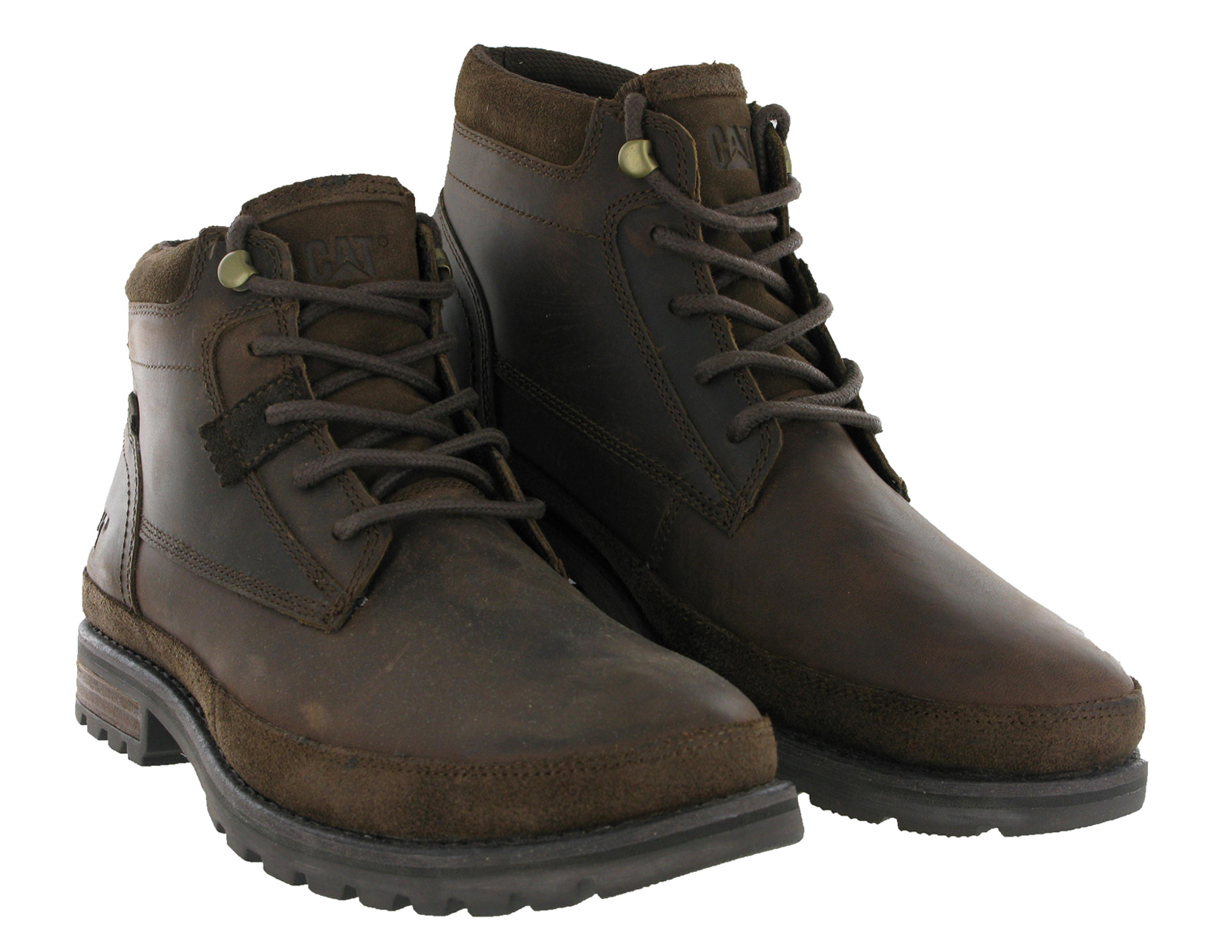 cat caterpillar oatman leather brown ankle work lace up