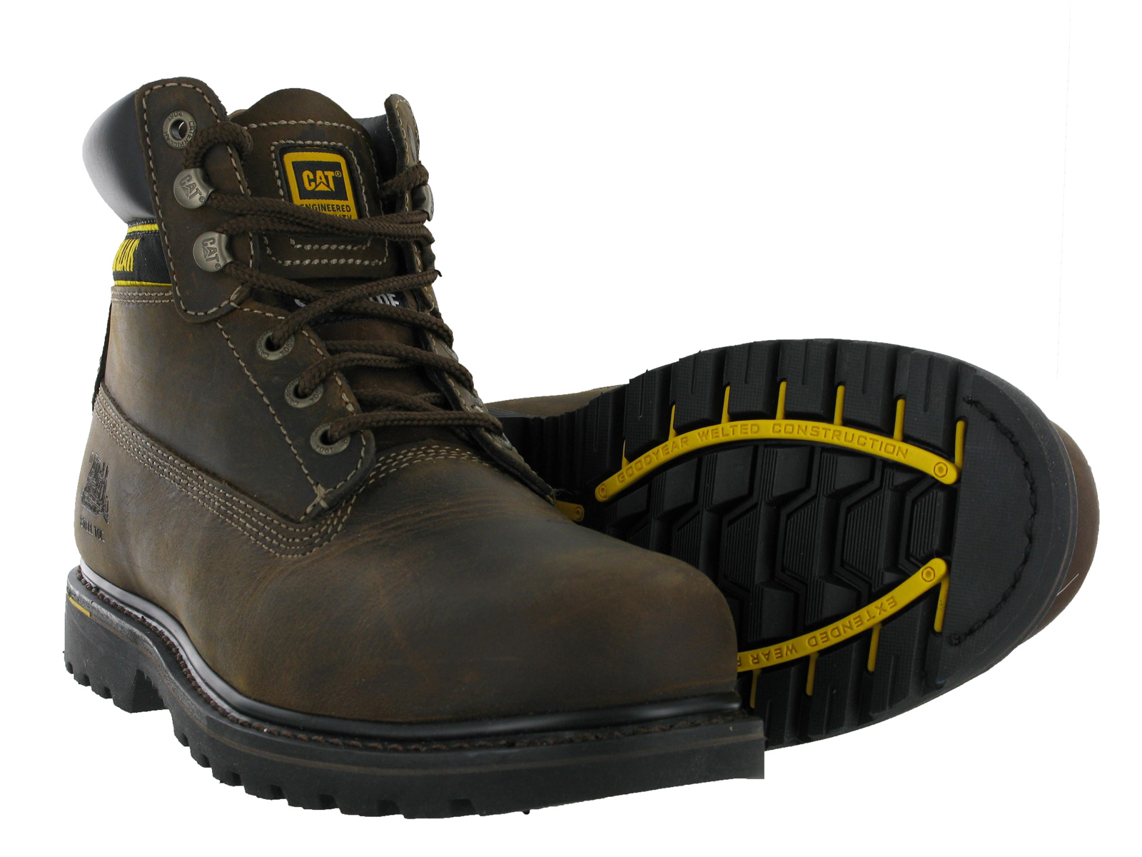 Mens CAT Caterpillar Holton Leather Steel Toe Cap Safety Work ...