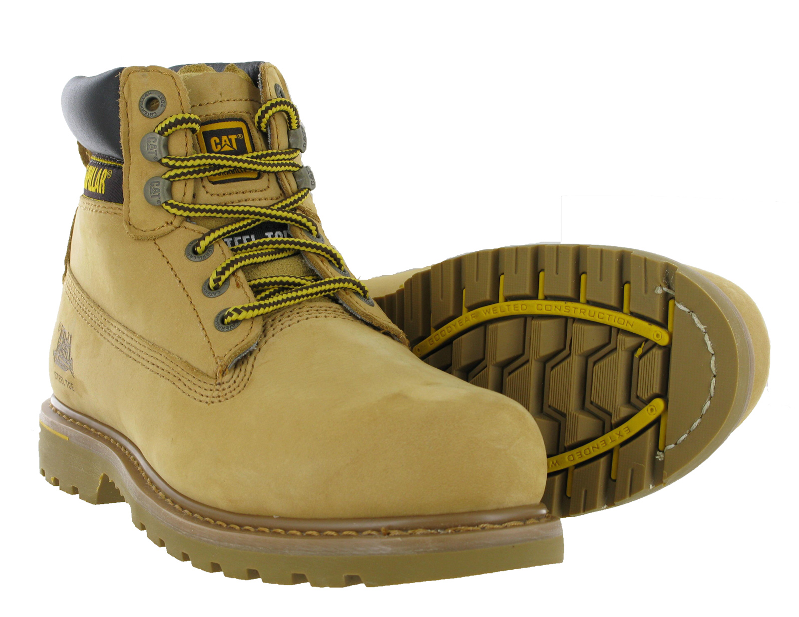 Mens CAT Caterpillar Holton Leather Steel Toe Cap Safety Work Boots Size 6-15 UK