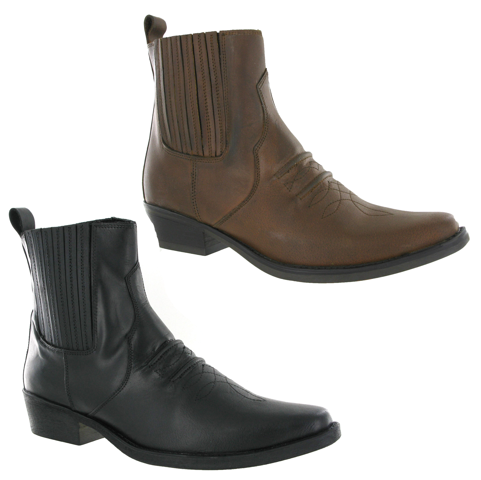 mens gringos gusset leather pull on western ankle cowboy