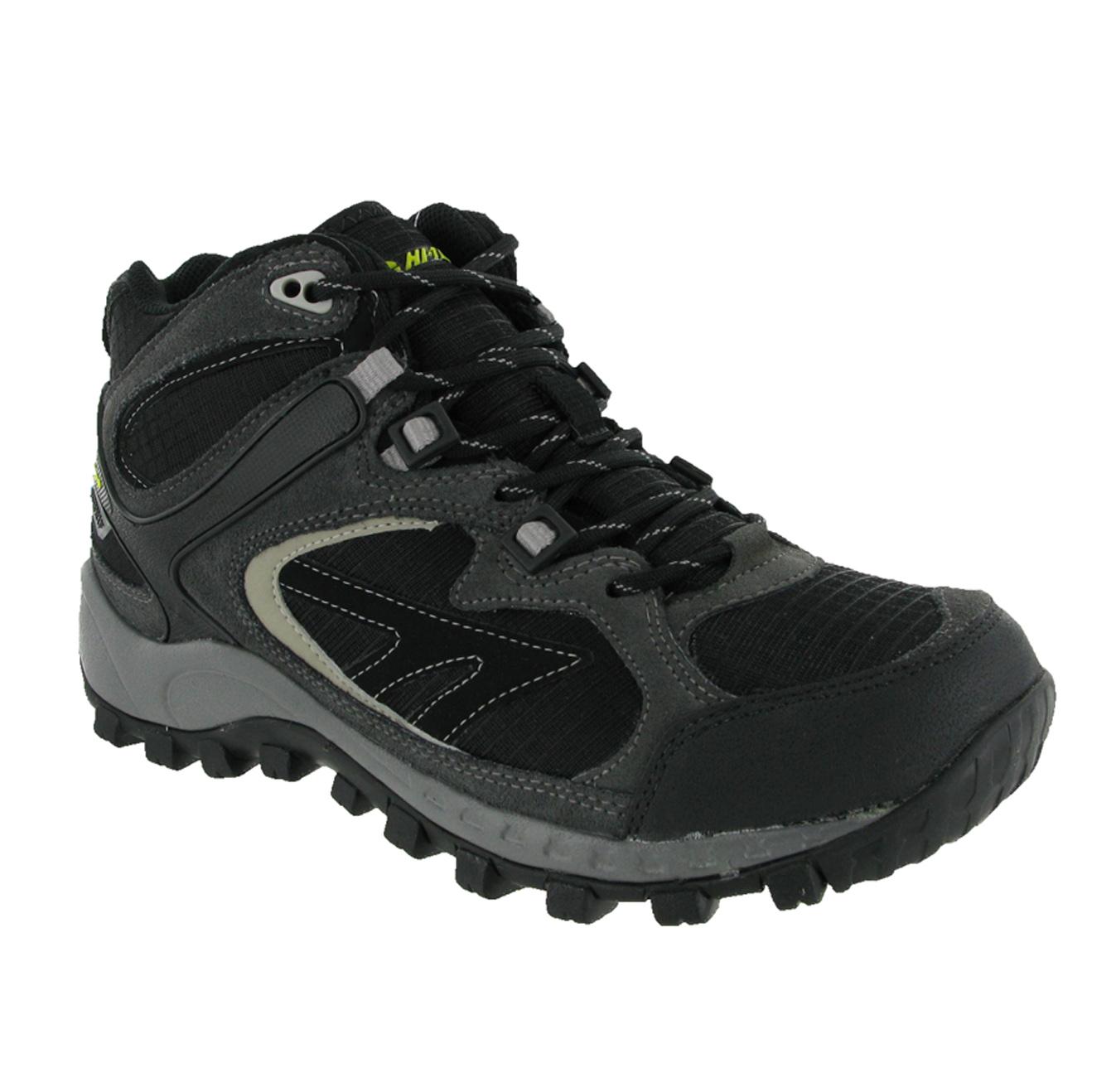 mens hi tec south trail mid black grey waterproof hiking
