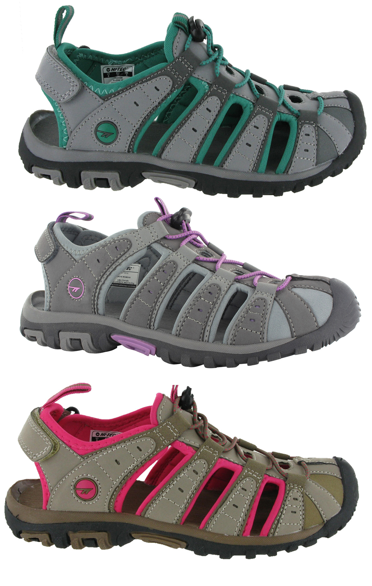 WOMENS SPORTS WALKING VELCRO FLAT CLOSED TOE SANDALS SHOES SIZE 3 - 9