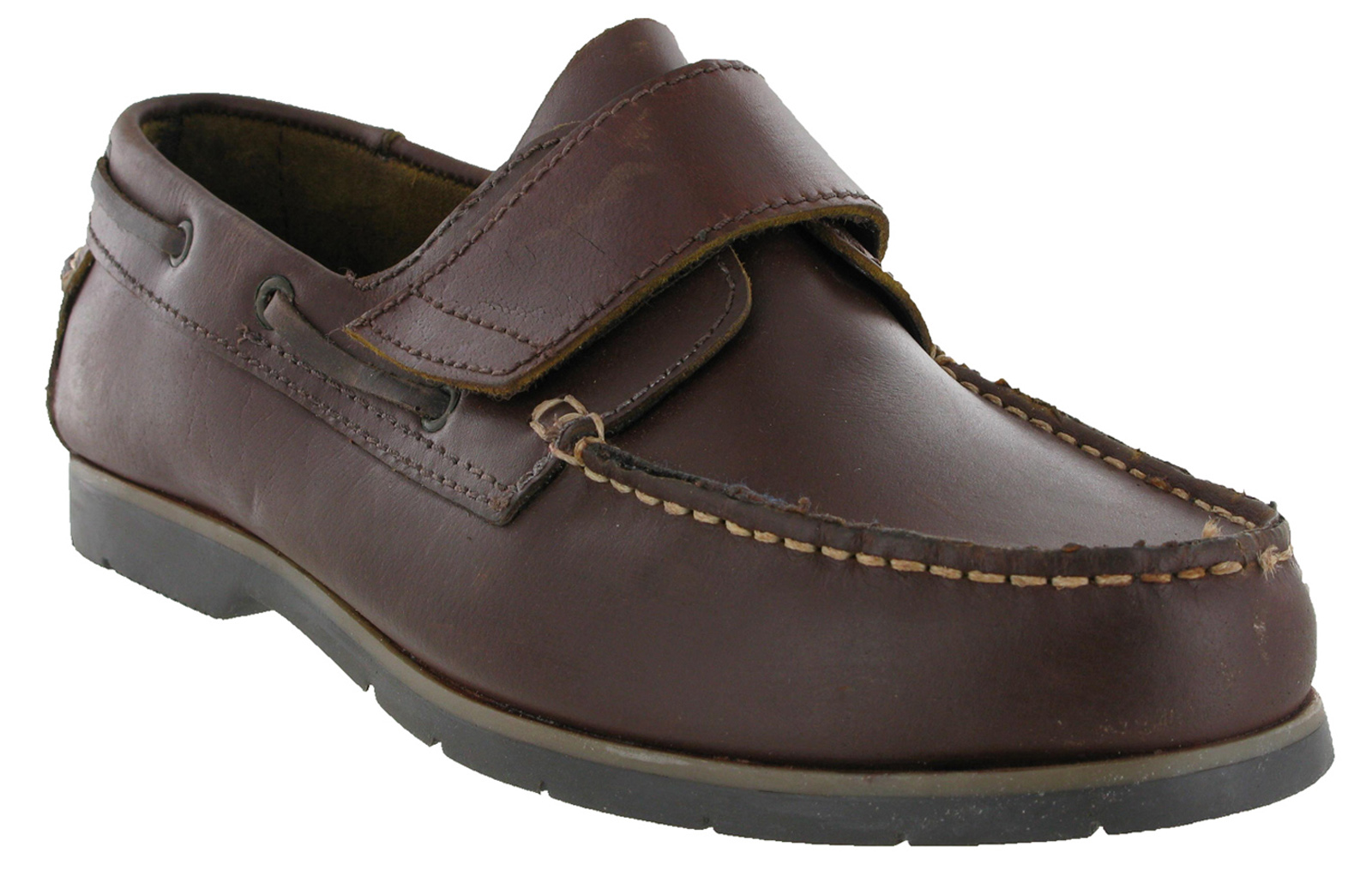 mens chums leather brown velcro fastening boat deck casual