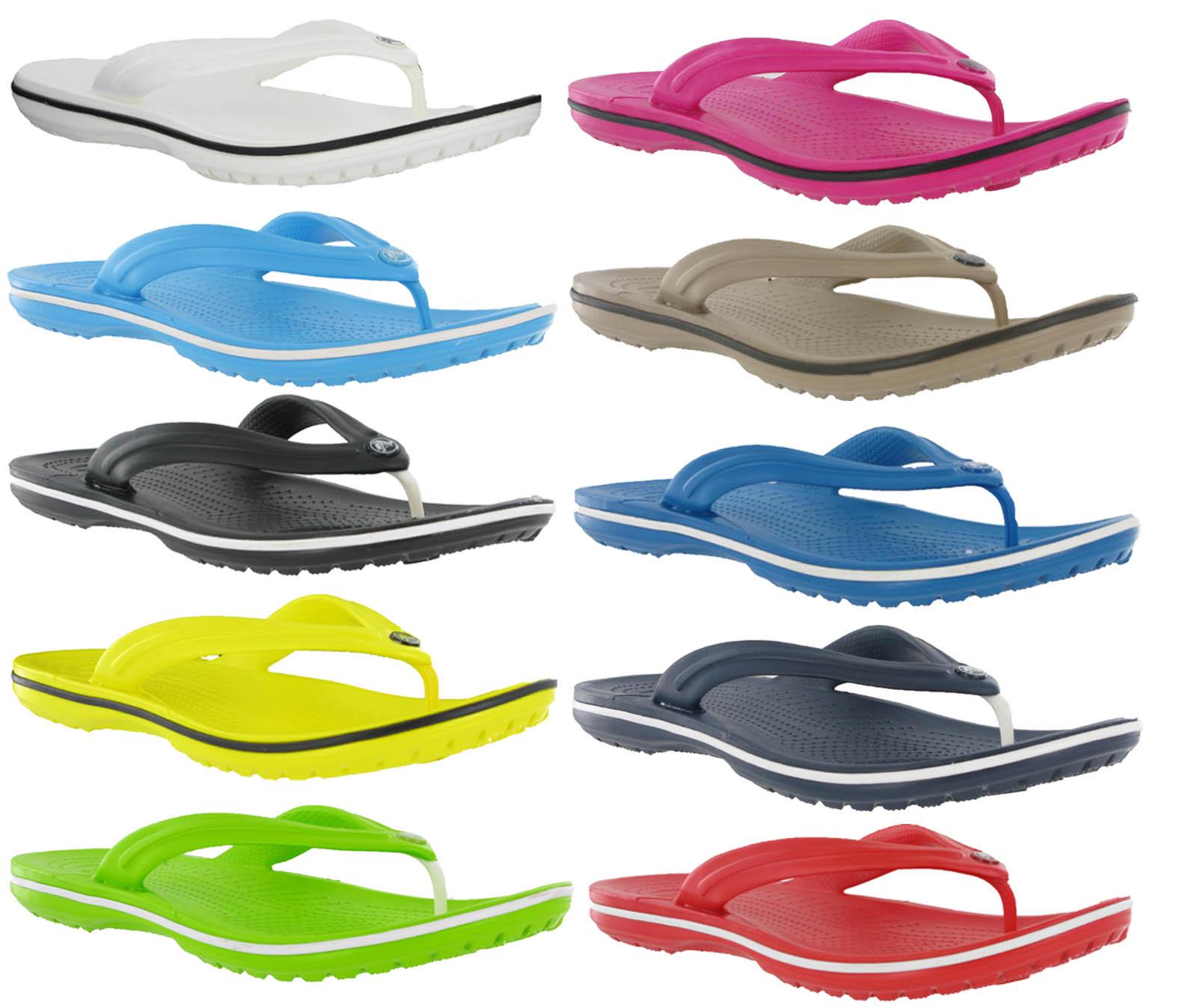 new genuine crocs unisex crocband flip flops lightweight comfort sandals 3 12 ebay. Black Bedroom Furniture Sets. Home Design Ideas