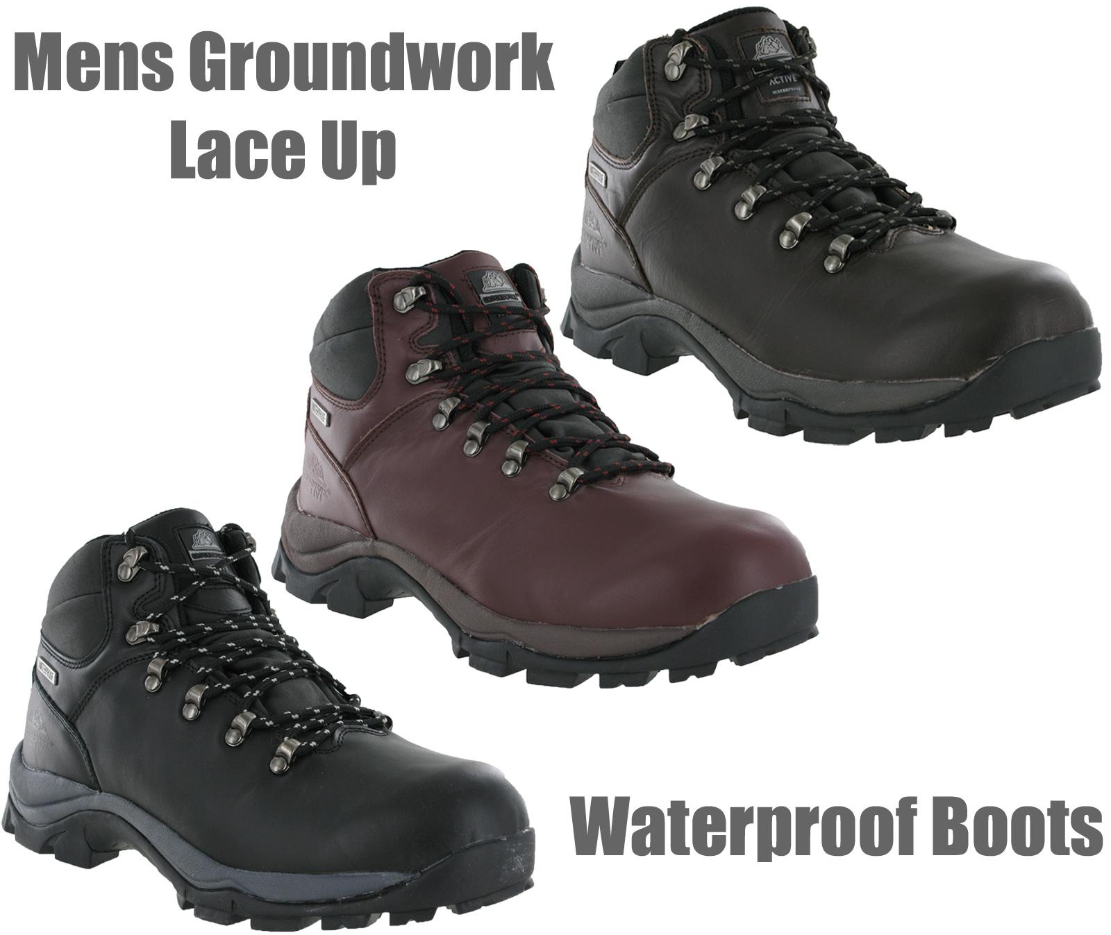 new mens waterproof grain leather trail walking