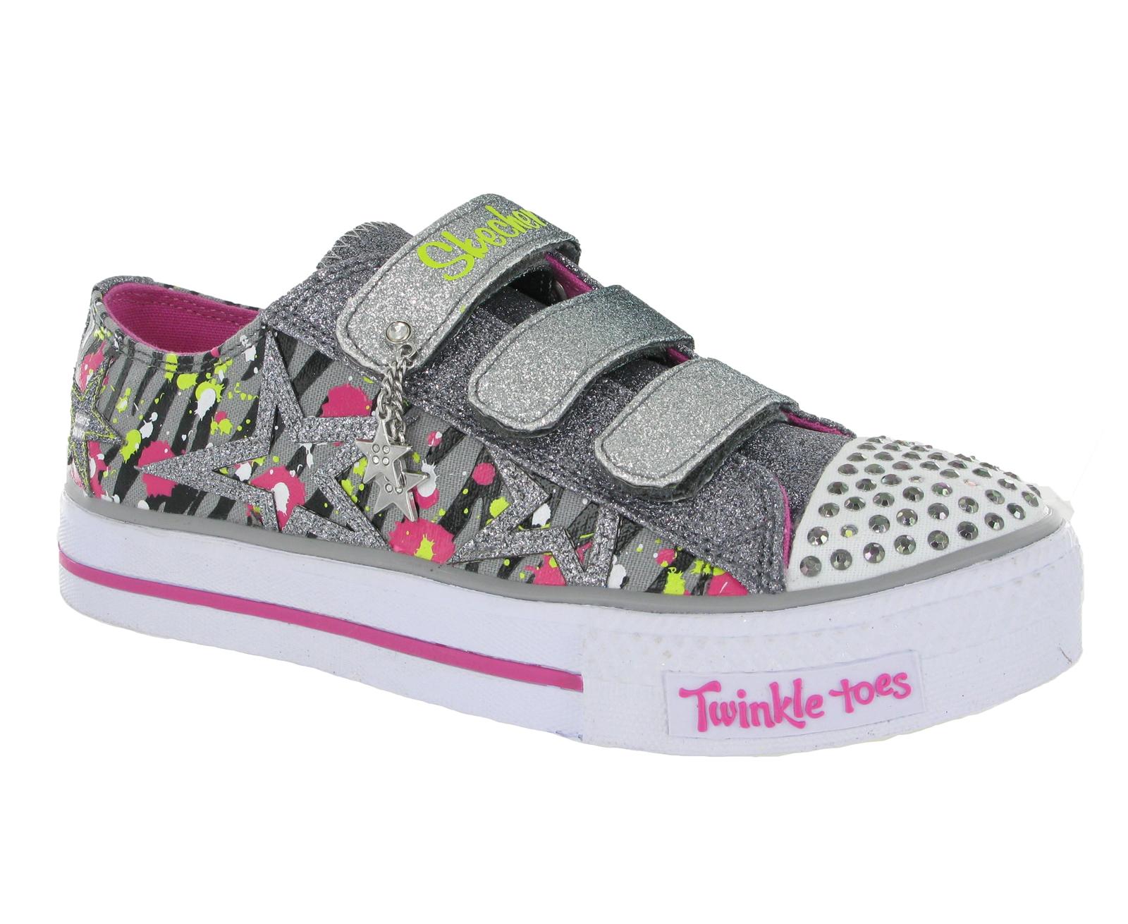 new older girls kids skechers twinkle toes light up velcro. Black Bedroom Furniture Sets. Home Design Ideas