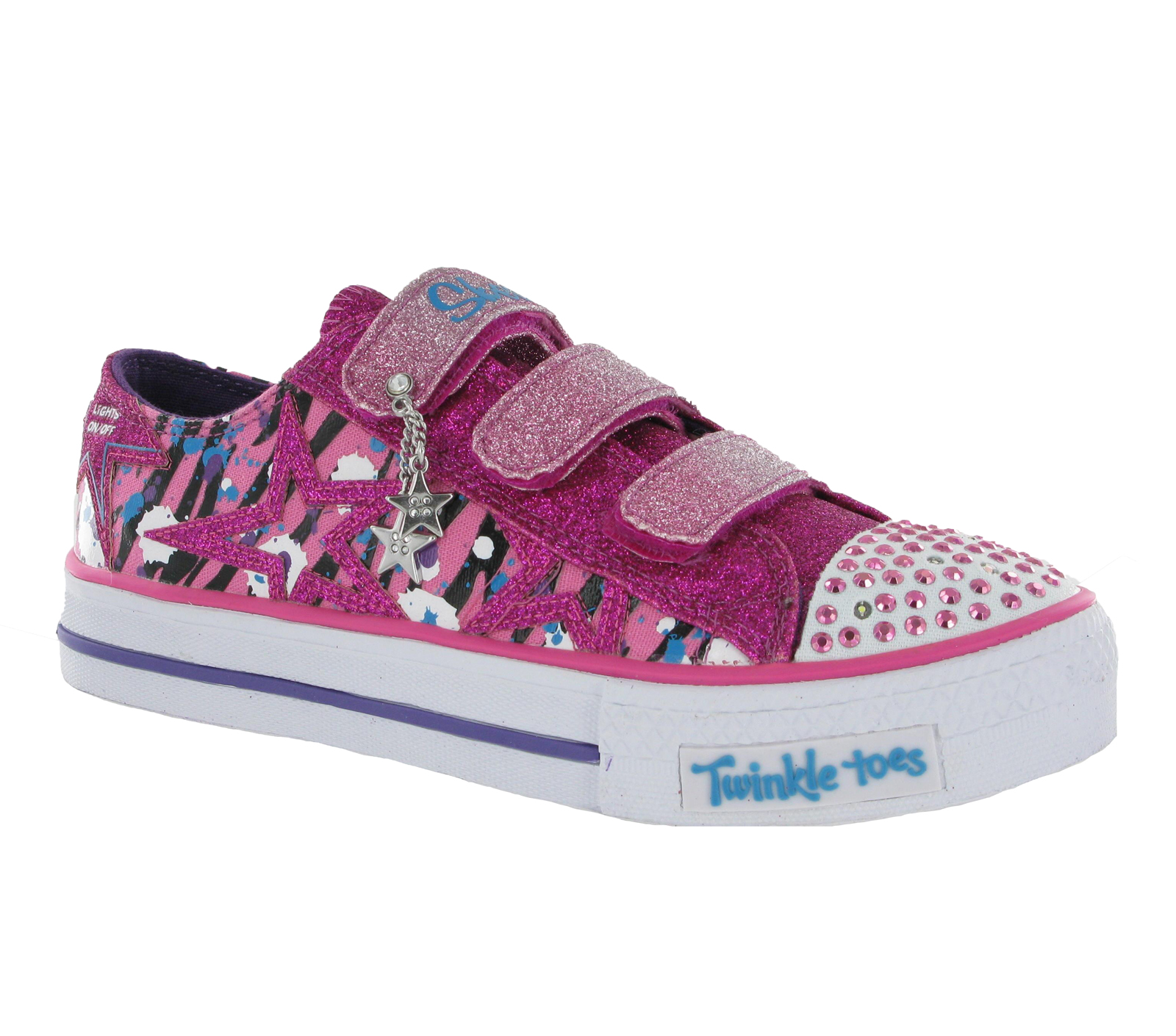 new older girls kids skechers twinkle toes light up velcro. Black Bedroom Furniture Sets. Home Design Ideas