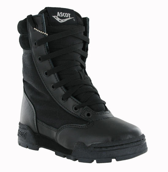 New Boys Kids Ascot Black Leather Combat Cadet Army Military Boots