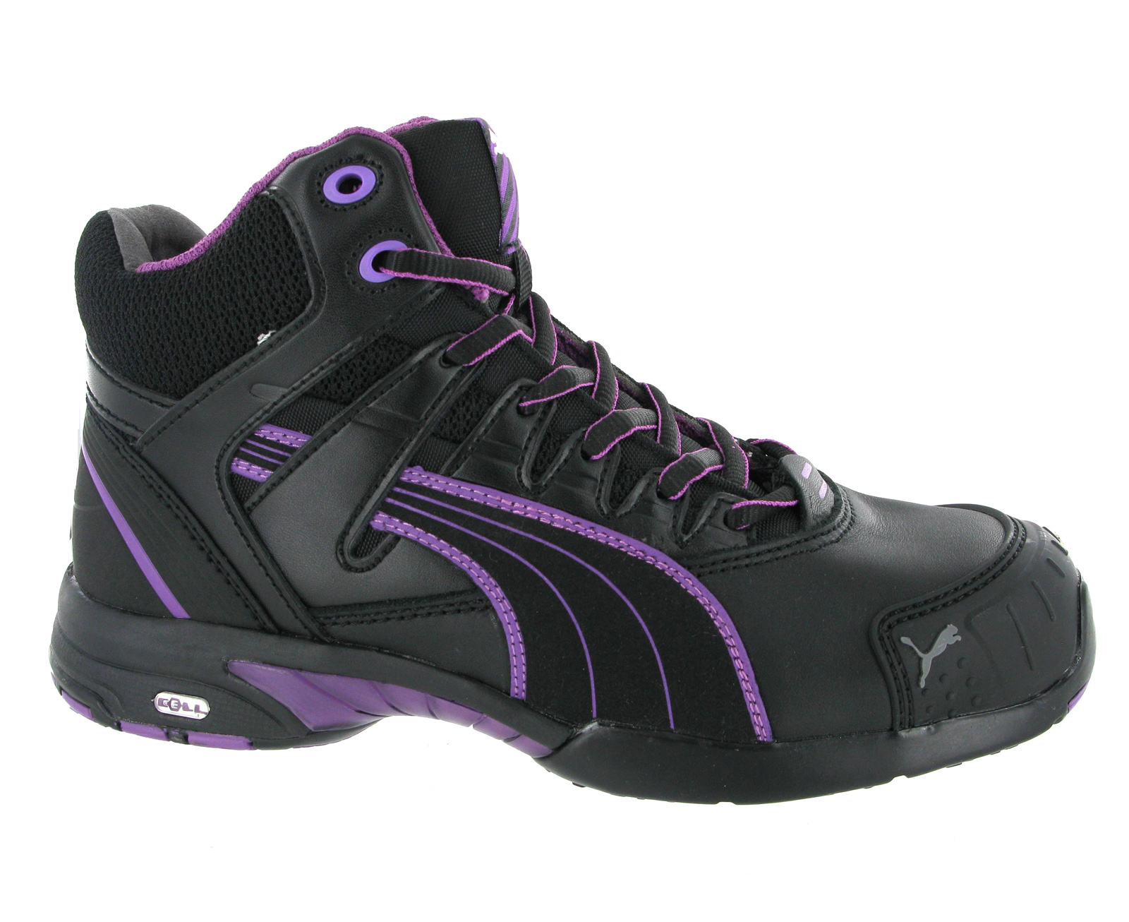 New Womens Puma Stepper S3 Black Leather Water Resistant ...