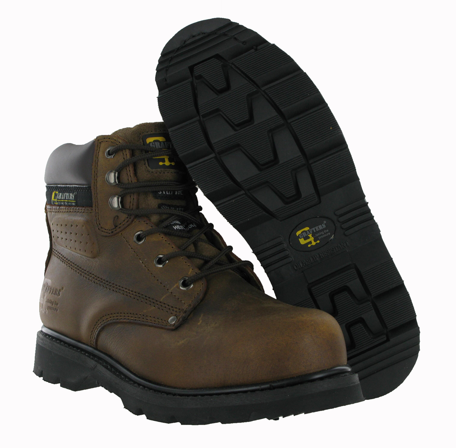 mens grafters gladiator leather steel toe cap midsole