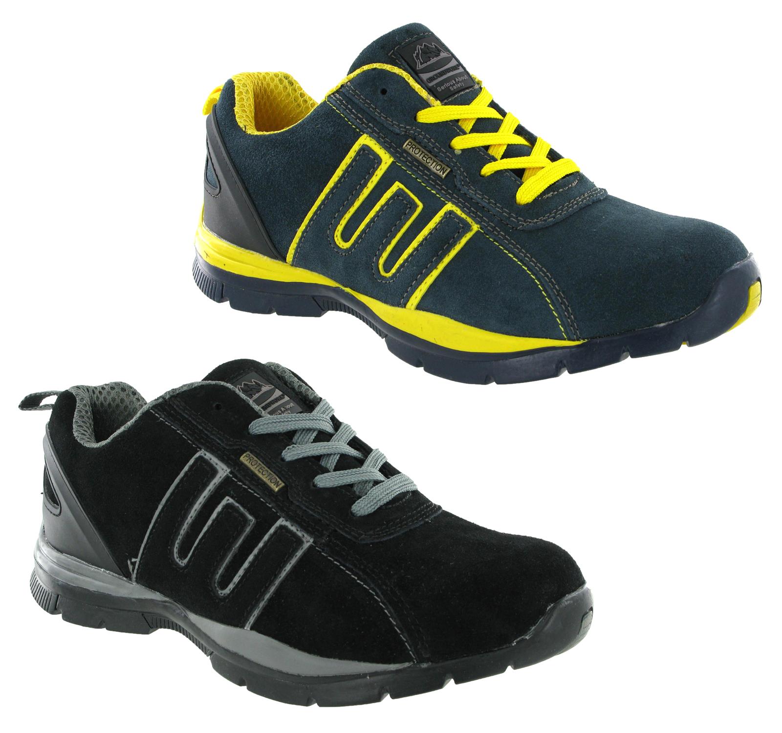 Groundwork acero punta seguridad cuero ligero hombre - Zapatillas de trabajo ...
