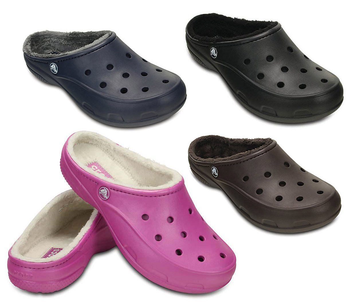 New Womens Crocs Freesail Fur Lined Comfort Clogs Warm Slippers Shoes Size  3-9