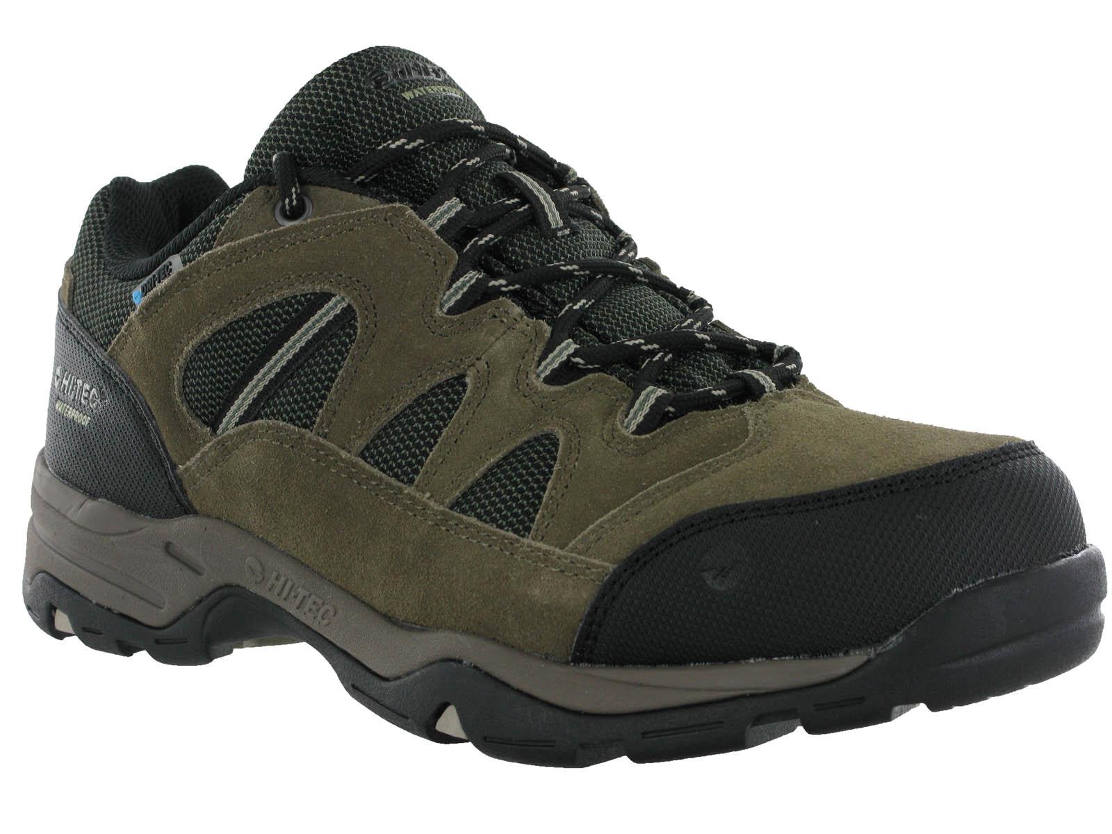 mens hi tec waterproof leather low walking hiking trail