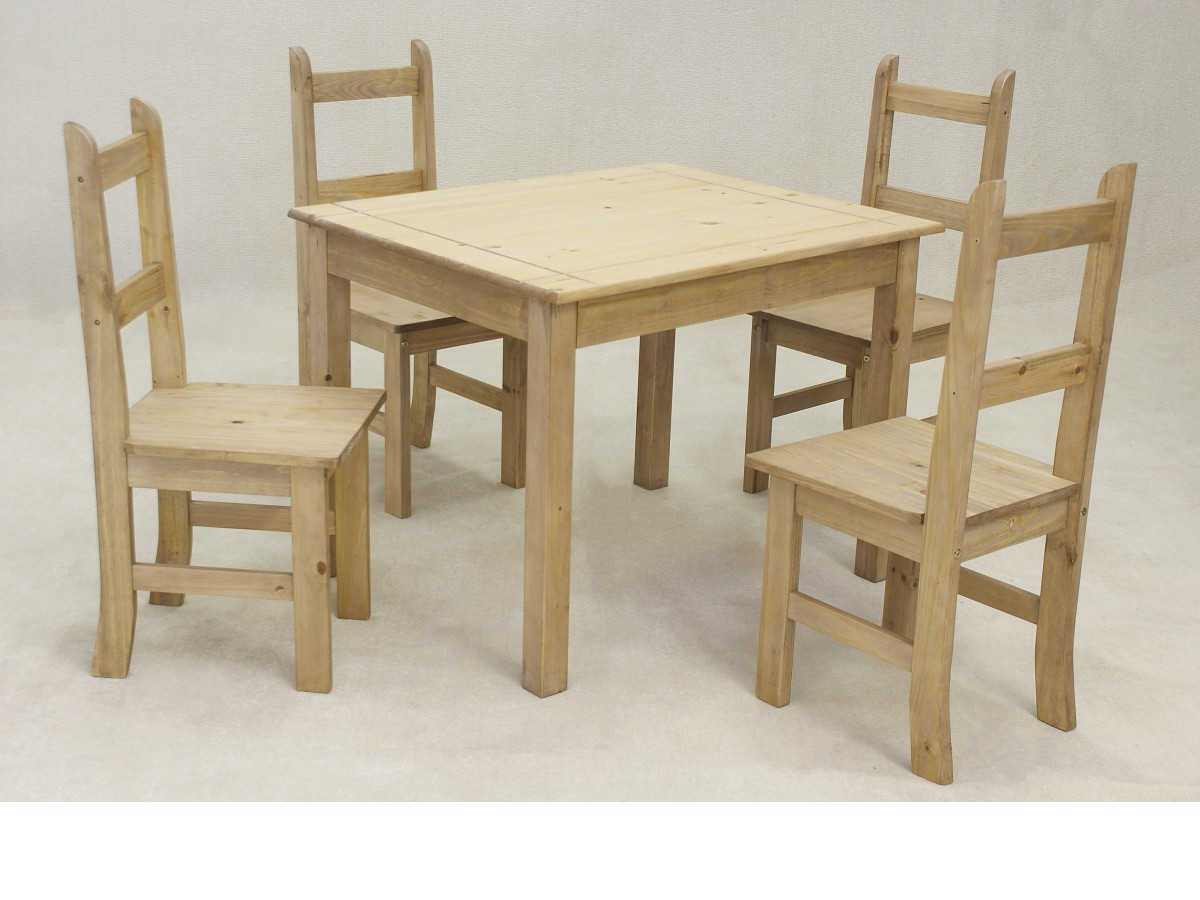 Coba Pine Dining Table Set 4 Chairs Solid Pine W100cm D80cm Brand New EBay