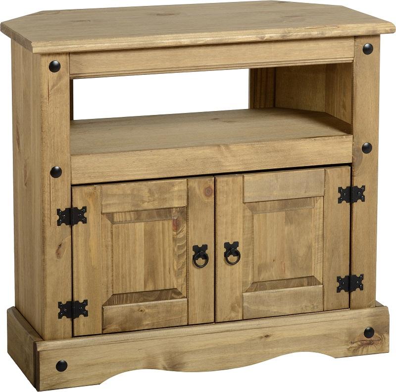 tv stand pine 2 door television cabinet corner unit corona mexican solid wood ebay. Black Bedroom Furniture Sets. Home Design Ideas
