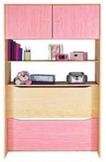 Storage Cupboard Pink Over Bed Cabinet 2 Door 2 Book