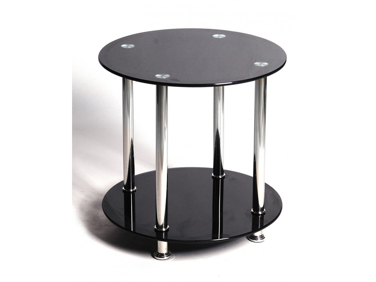 Black Glass Side Table: Black Glass Table Round Lamp Side End Occasional Table