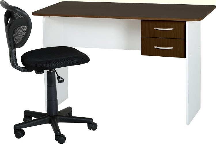 Office Desk Walnut Dark Wood Table White Frame 2 Drawer Computer Work