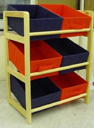 Toy Organizer Kids Bedroom 3 Tier Storage Unit 6 Bin Childs Toy Storage Red Blue Ebay