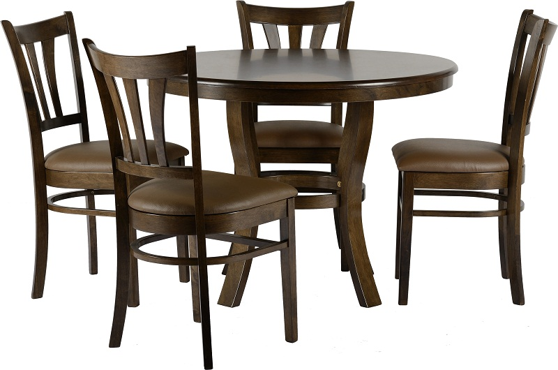 dining table round walnut veneer 4 dining chairs padded brown pu seat
