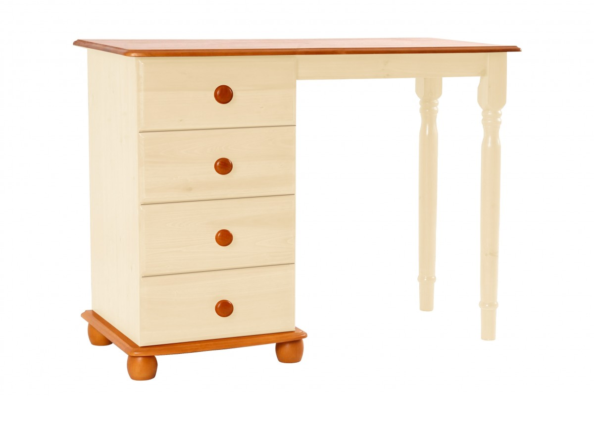 Dressing Table Computer Desk Solid Pine Two Tone Cream Dresser 4 Drawer