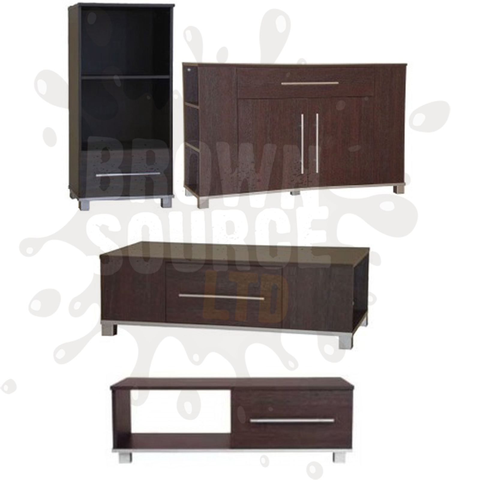 Sideboard tv stand coffee table dark wood living room for Furniture at the range