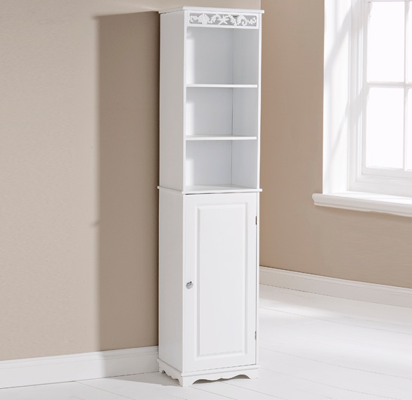 Tall bathroom cabinet white wooden floor standing cubpoard for Floor standing mirrored bathroom cabinet