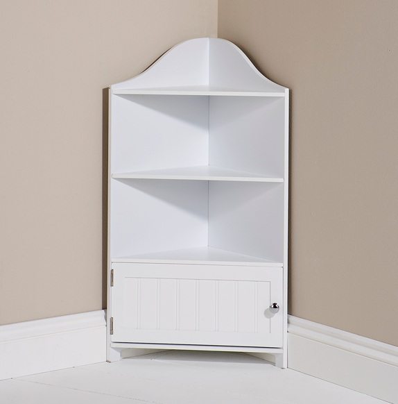 Bathroom cupboard white corner storage unit 1 door - White bathroom corner shelf unit ...