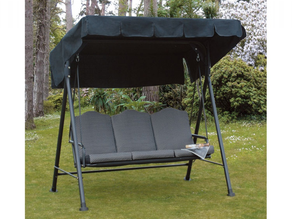 Garden Seat Swing 3 Seater Patio Cushioned Chair Steel Black Canopy Hammock