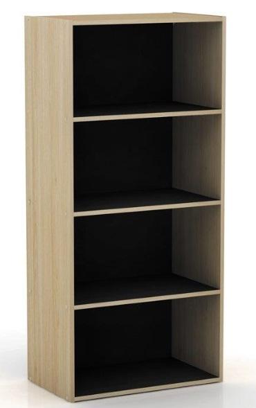 Bookcase Black Oak Compact Open 4 Book Shelves Tall