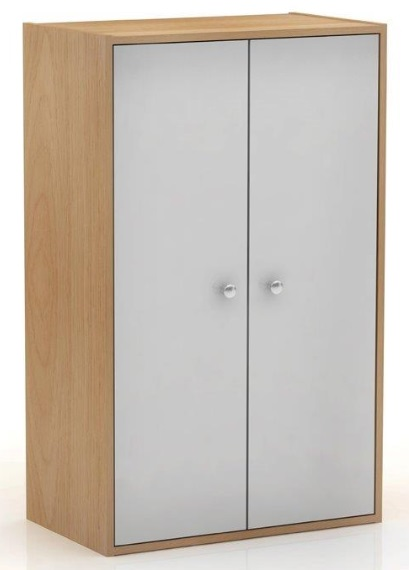 Cupboard White Oak 2 Door Cabinet Tall Compact Home Office